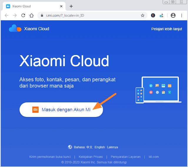cara masuk ke akun mi cloud