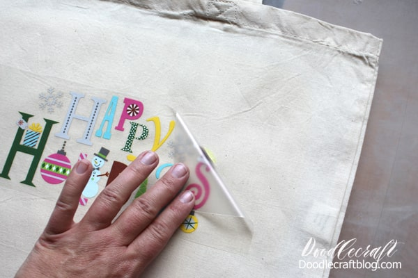 Carrier sheet removed from the Happy Holidays Iron On Design Tote for Christmas in July!