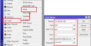 menambah email account pada mikrotik