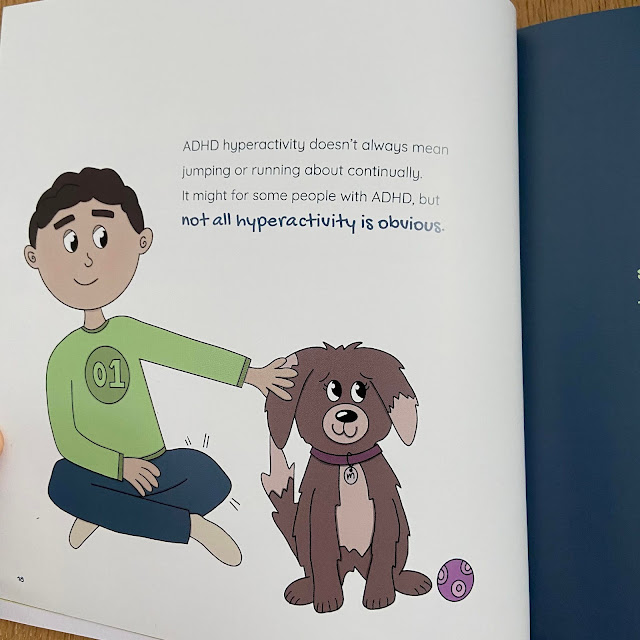 Inside page of ADHD and me! showing illustration of boy patting a dog, with text