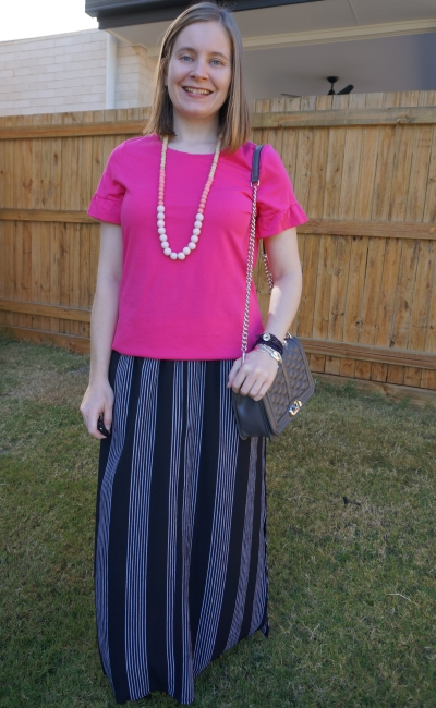 hot pink frill sleeve tee with vertical stripe maxi skirt grey love bag | away from blue