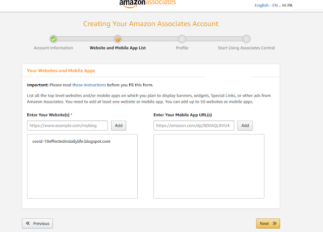 amazon affiliate form for account information, amazon bounty, amazon prime member