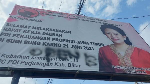 Marak Baliho Puan dan Lambang PDIP di Jatim Jadi Korban Vandalisme