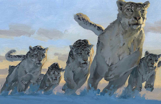 big wild cats running in snow by Gregory Manchess