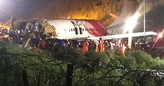 Plane crashes at an Indian airport while landing at Kozhikode Calicut International Airport
