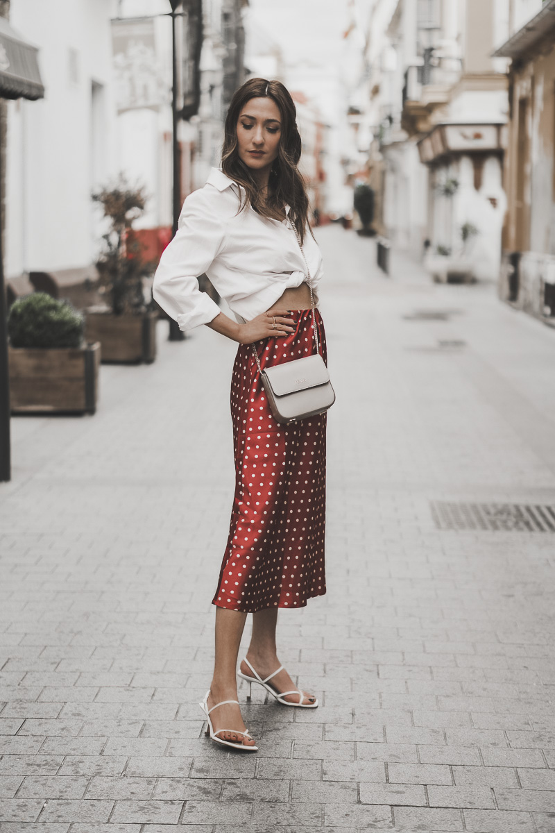 red polka dots midi skirt