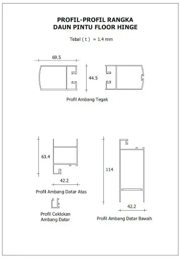 bahan pintu floor hinge