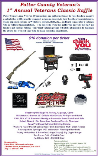 7-17 Drawing For The First Annual Veterans Classic Raffle