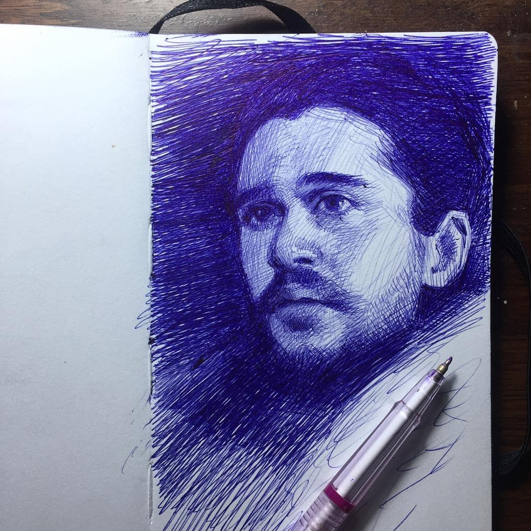 07-Jon-Snow-Game-of-Thrones-Arthur-Gains-Moleskine-Sketches-of-Celebrities-and-other-Portraits-www-designstack-co