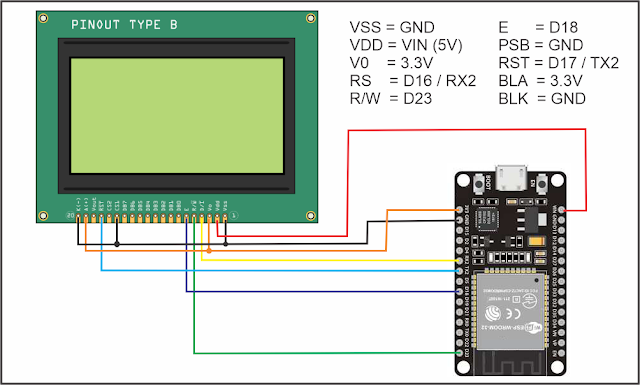 ESP32 with LCD ST7920