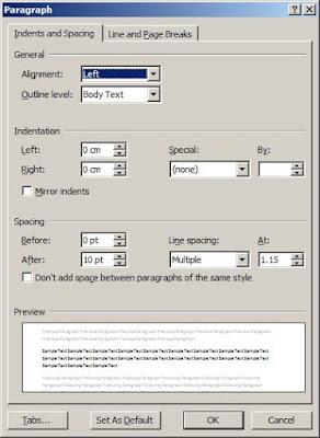cara mengatur tab pada word 2010