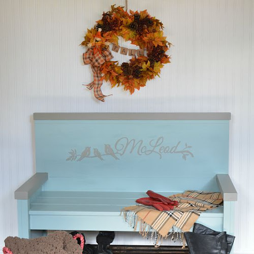 Mid-Century Modern Headboard Entry Bench With Shoe Storage
