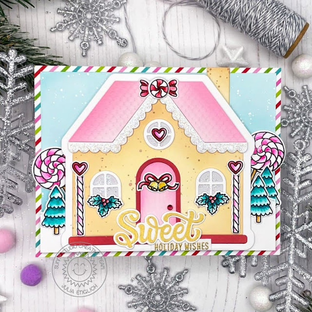 Sunny Studio Stamps: Gingerbread House Dies Holiday Express Candy Shoppe Christmas House Shaped Card by Julia Englich