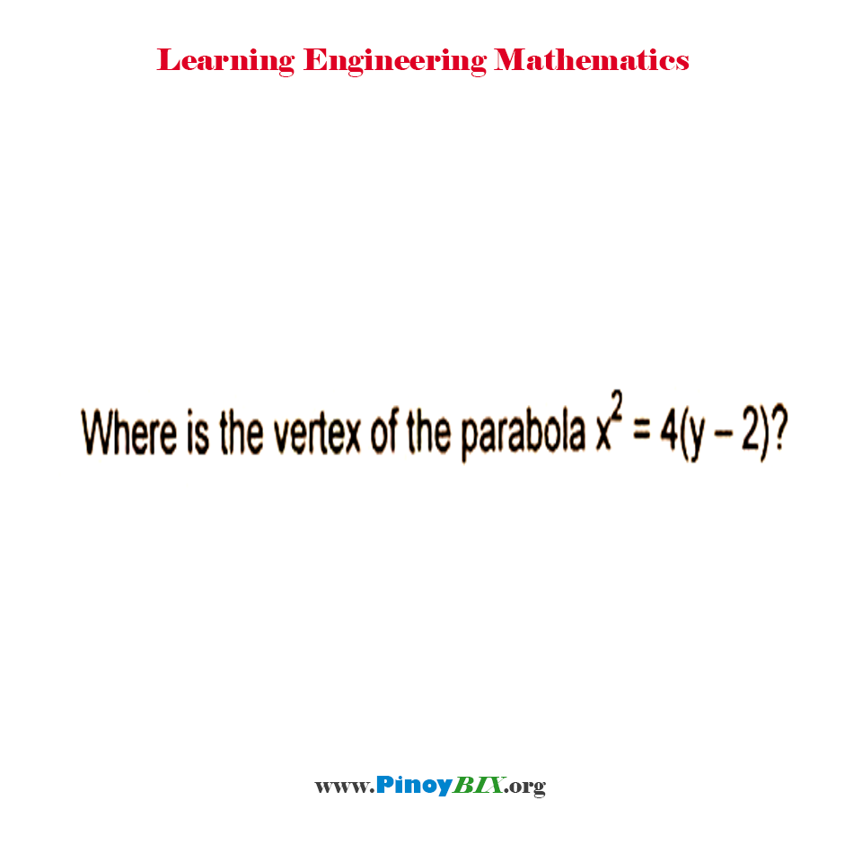 Where is the vertex of the parabola x^2 = 4(y – 2)?