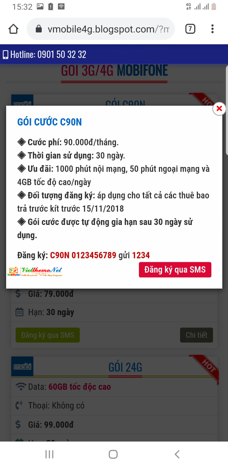 VMobile4G - Template bán các gói data 3G, 4G dành cho Blogspot