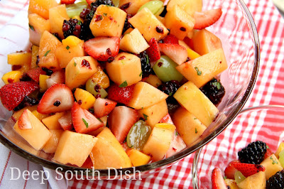 Fresh melon, strawberries, blackberries, blueberries or raspberries, with watermelon, peaches and grapes tossed with a lime and mint infused simple syrup.