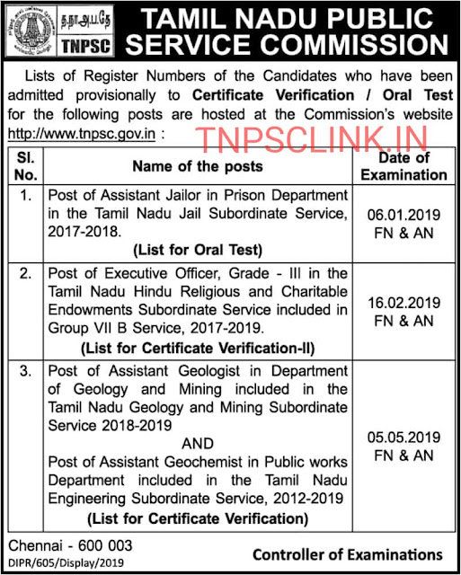 TNPSC Results Certificate Verification/ Oral Test for Various TNPSC Posts - Dated 19.06.2019