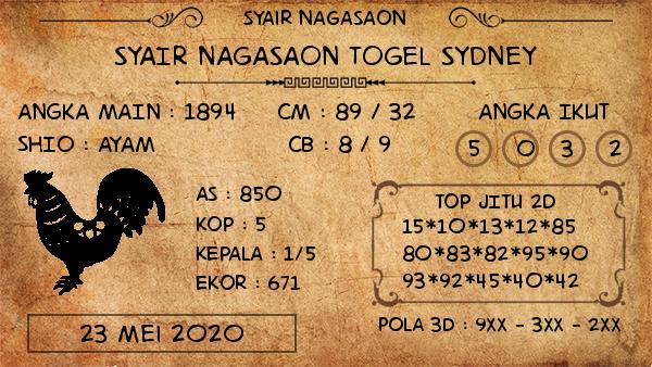 Prediksi Togel Sydney Sabtu 23 Mei 2020 - Nagasaon
