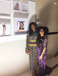 Genevieve Nnaji steps out in beautiful print dress for art event
