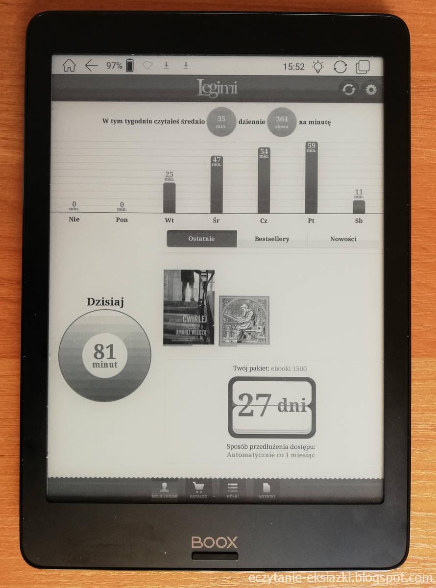 Ekran startowy w aplikacji Legimi na Onyx Boox Nova
