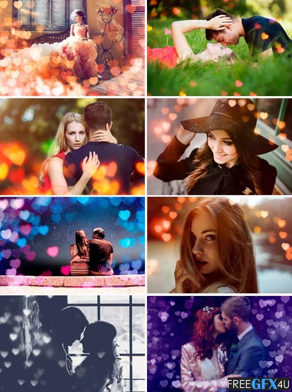 52 Romantic Heart Bokeh Photo Overlays