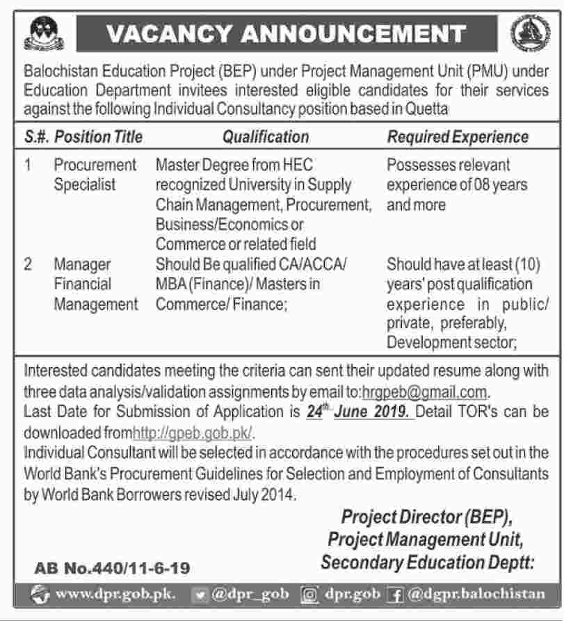 Jobs in Balochistan Education Project (BEP) 12 June 2019