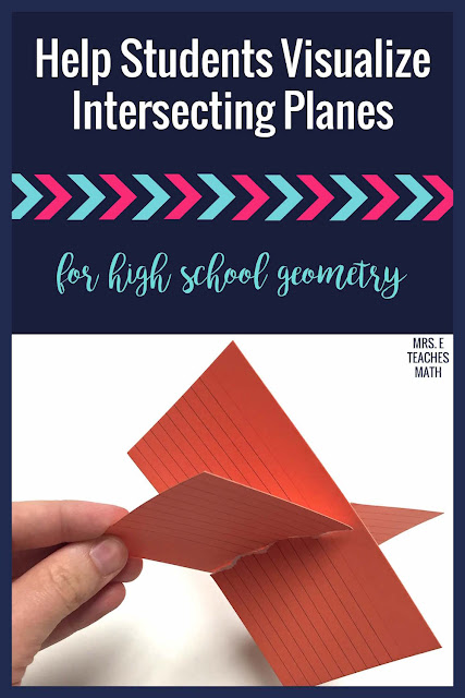 Are you teaching high school geometry?  This hands on activity helps students visualize intersecting planes.  It is perfect after teaching about points, lines, and planes.
