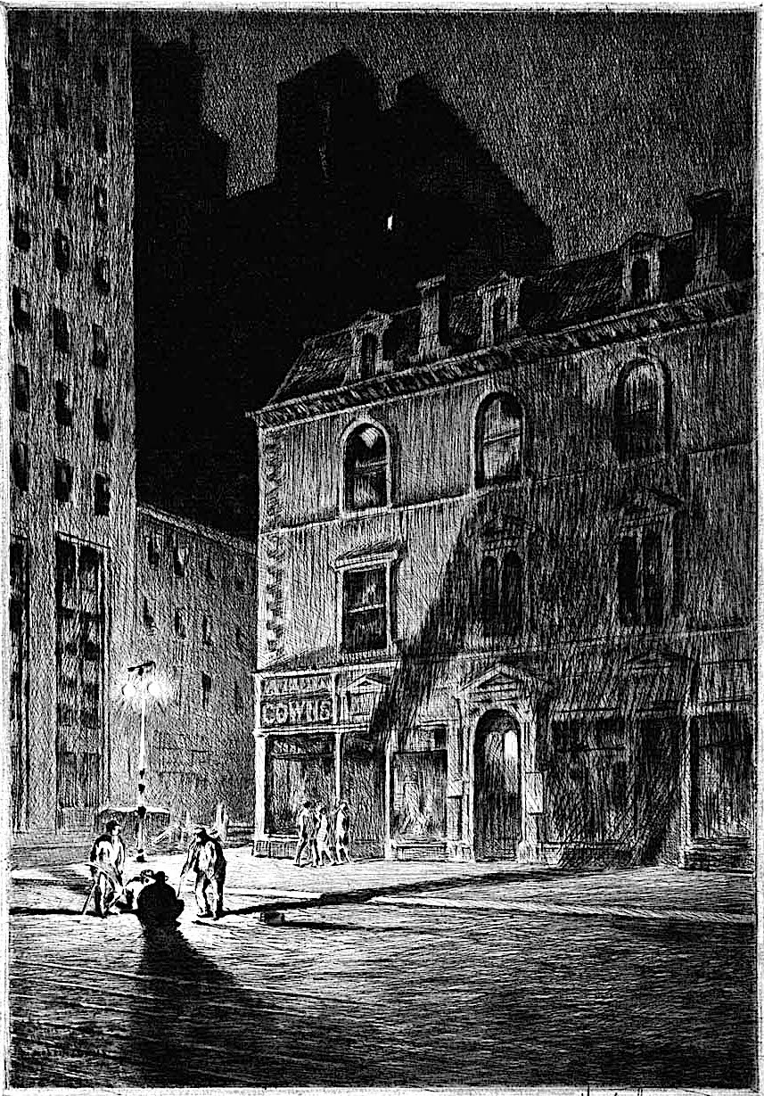 a Martin Lewis print, workers in the street at night