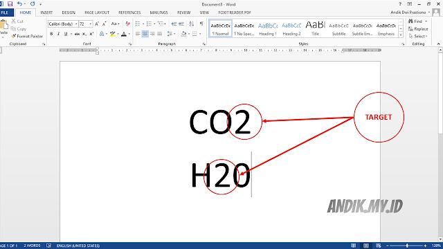 tutorial, microsoft word, microsoft office, subscript, membuat huruf kecil dibawah