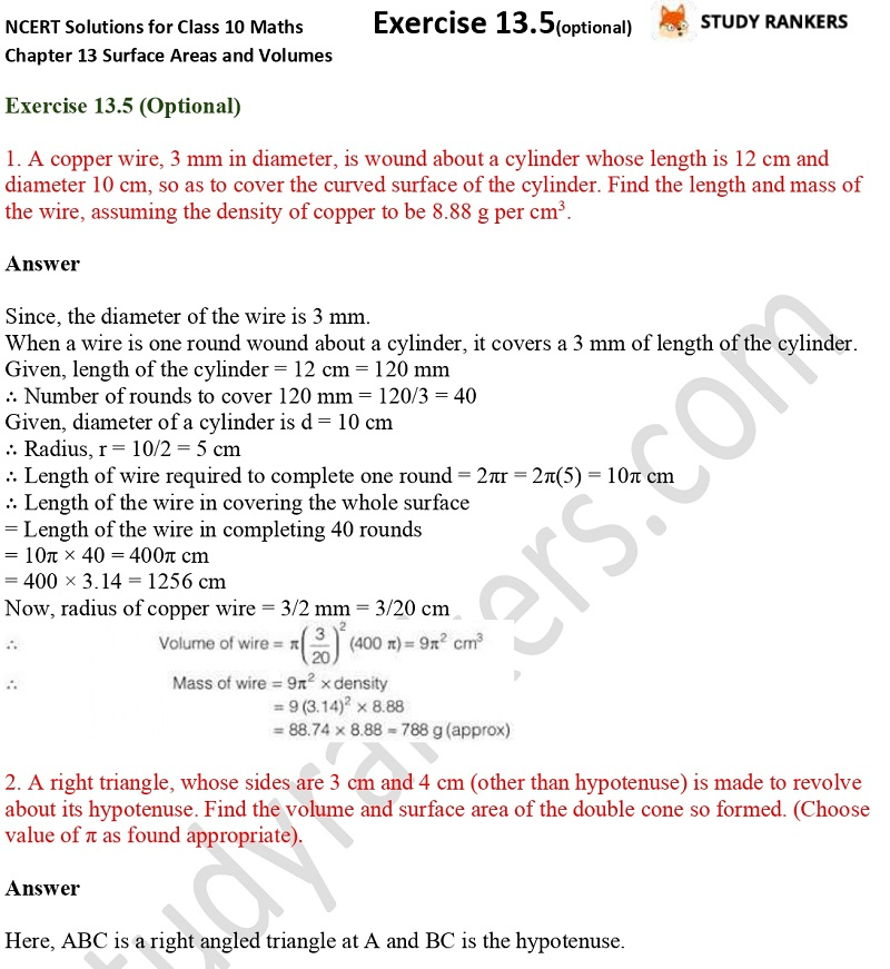 NCERT Solutions for Class 10 Maths Chapter 13 Surface Areas and Volumes Exercise 13.5 Part 1