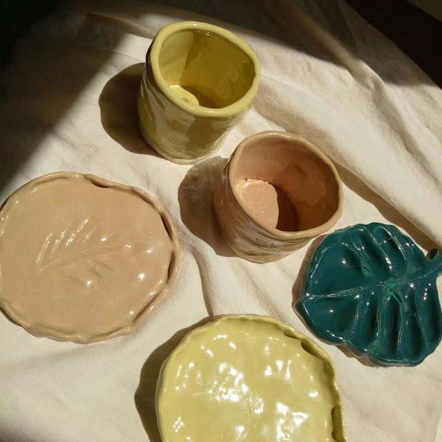 Kibo studio handbuilding pottery fired pieces