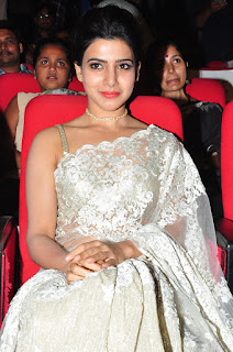 Samantha Ruth Prabhu in a Glittering Silver Transparent Saree and Sleeveless Blouse Choli