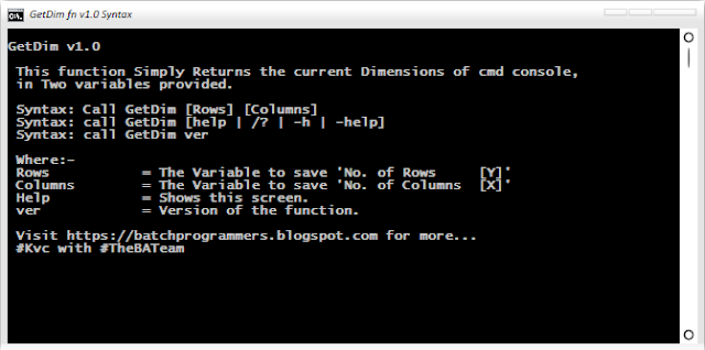 How to know 'Current Dimensions' of CMD Console? | GetDim function v.1.0 | By Kvc & Sounak@9434