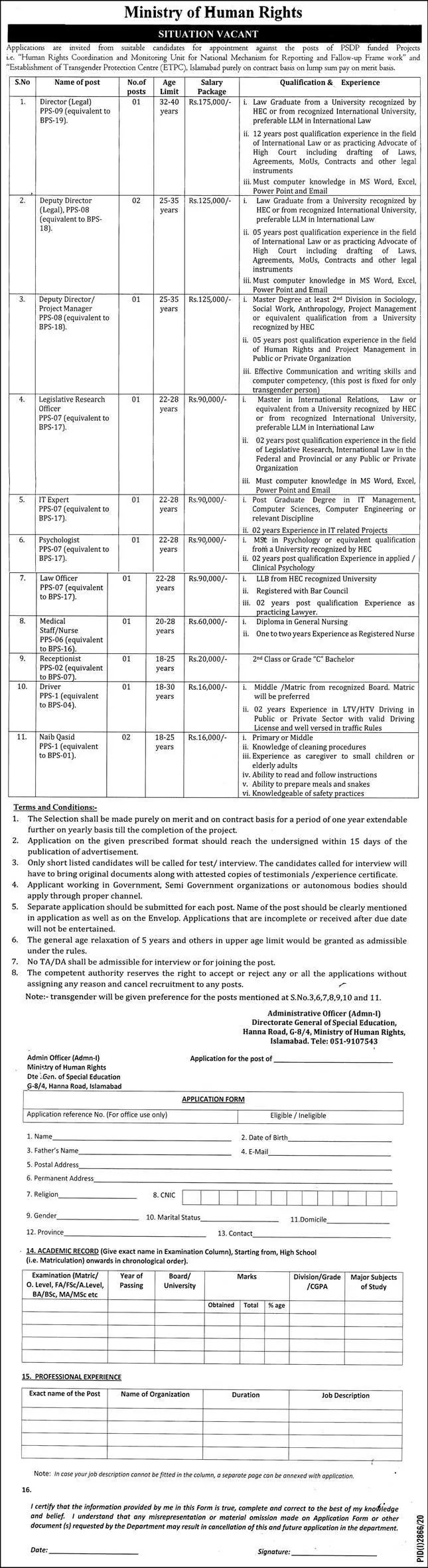 Government of Pakistan Ministry of Human Rights Jobs 2020