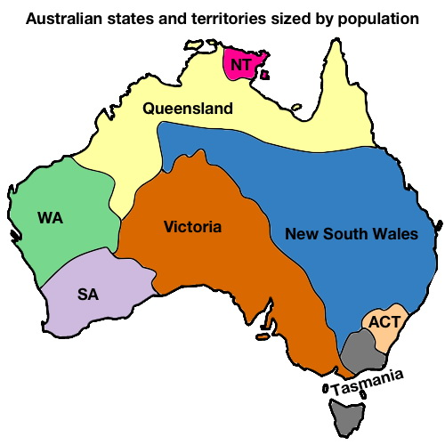 Map Of Australia With States And Territories.Australian States Territories Sized By Population Vivid Maps