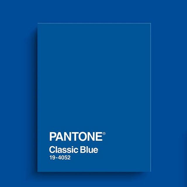A color block of Pantone Classic Blue 19-4052.