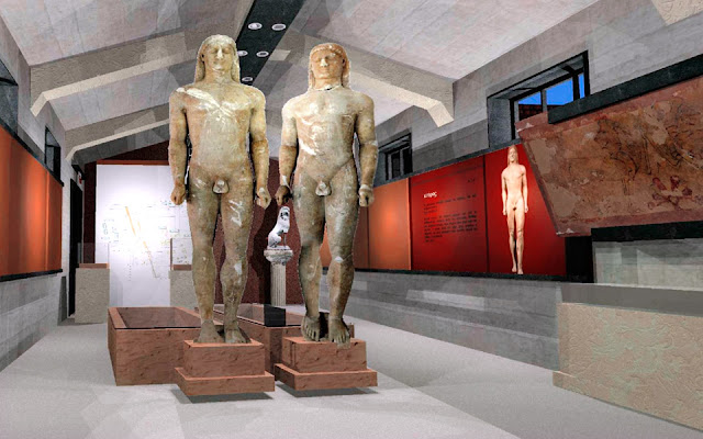 Twin Kouroi of Tenea hosted in restored hall of Ancient Corinth Museum