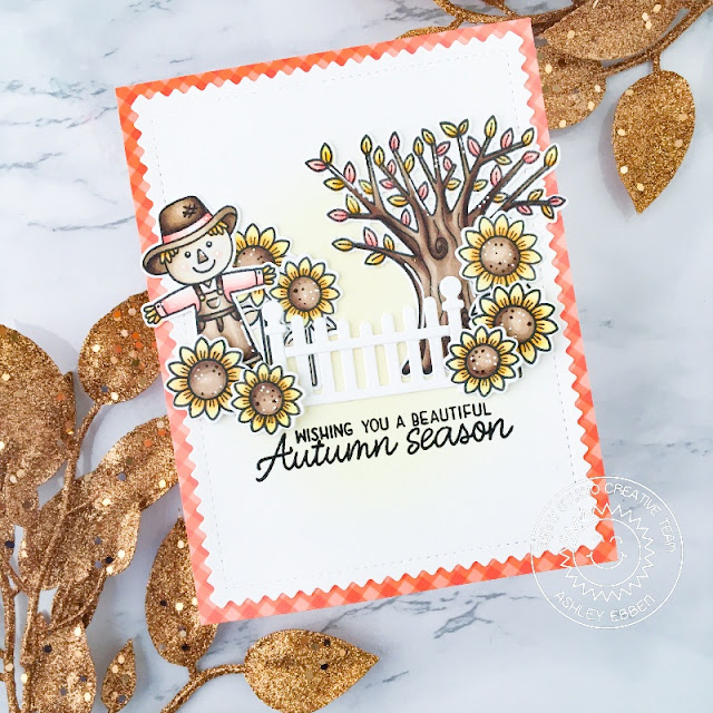 Sunny Studio Stamps: Scalloped Fence Dies Farm Fresh Happy Harvest Card by Ashley Ebben