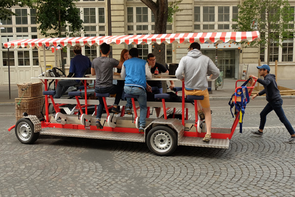 A pedal car restaurant on the streets near Rue de l'Université. Paris photos by Kent Johnson for Street Fashion Sydney.
