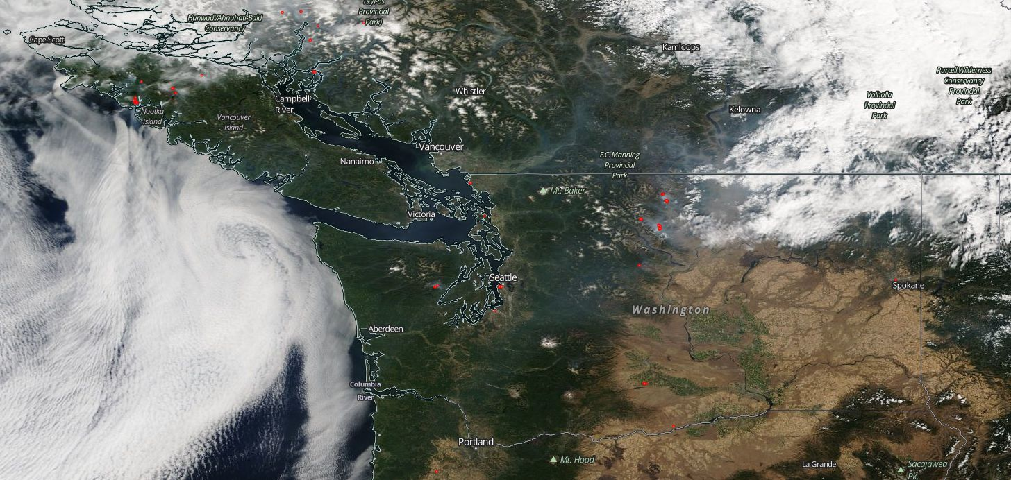 mostly from bc drifting over the puget sound lowlands is causing some areas of moderate air around the central sound chelan and okanogan county fires