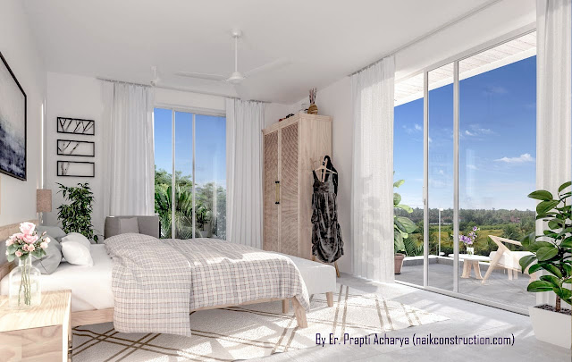 Interior Design of Apartment living Bedroom & Balcony  in Goa by Naik Construction