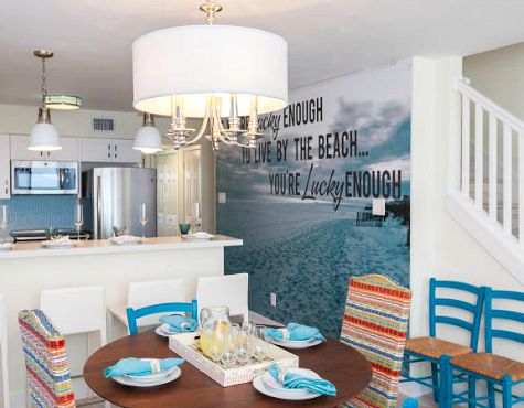 Photo Mural With Quote In Kitchen Dining Room