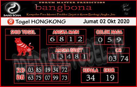 Prediksi Bangbona HK Jumat 02 Oktober 2020