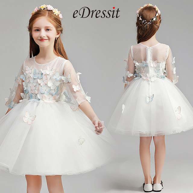 cute round neck white wedding flower girl dress
