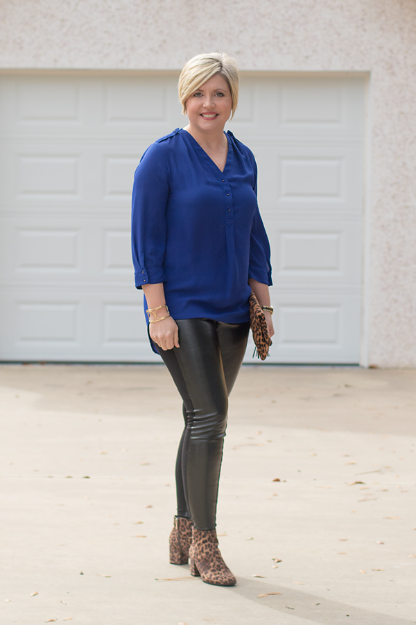 faux leather leggings, blue tunic top, leopard boots