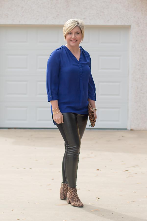 faux leather leggings, blue tunic top, leopard boots