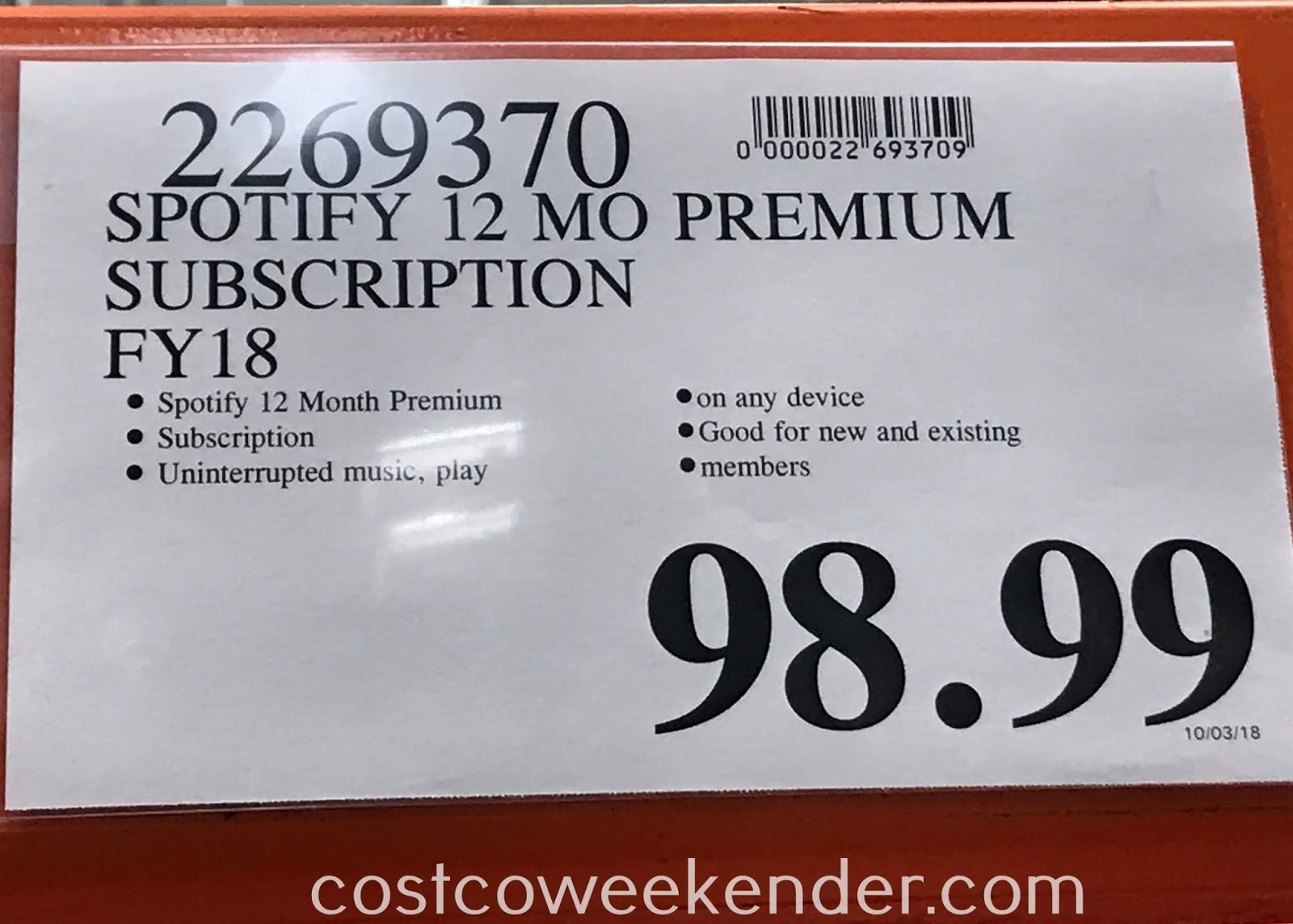 Deal for 12 months of Spotify Premium for 10 months at Costco