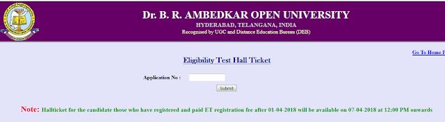 Dr.B.R.Ambedkar Open University(BRAOU)Eligibility Test UG(BA,B.Com,B.Sc)