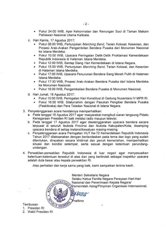 Pedoman Peringatan HUT Ke-72 Kemerdekaan RI Tahun 2017