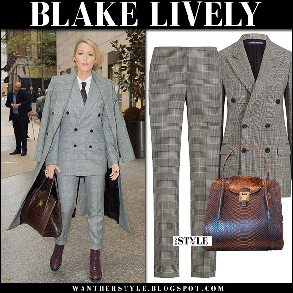 Blake Lively in grey plaid blazer, grey plaid pants ralph lauren with brown leather bag michael kors bancroft fall fashion trend celebrity october 16 2017